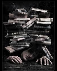 livros na cabeça